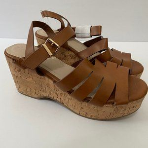NWT Charlotte Russe Chunky Light Brown Wedge